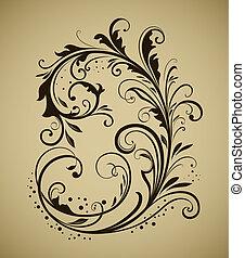vendemmia, disegno floreale, elemento, isolato, su, beige, fondo.