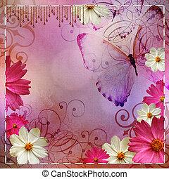 vendemmia, disegno floreale, fondo, e, farfalle