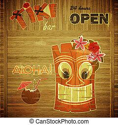 vendemmia, disegno, hawai, menu