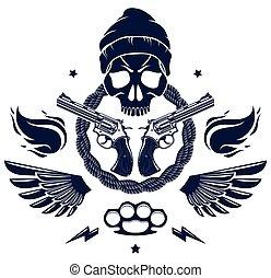 vendemmia, elementi, aggressivo, revolutionary., ribelle, cranio, , differente, cattivo, gangster, tatuaggio, vettore, logotipo, scull, caos, armi, o, anarchia, disegno, criminale, emblema