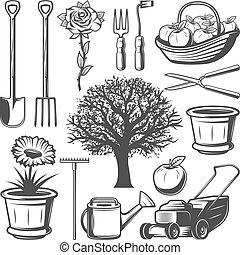 vendemmia, elementi, giardino, collezione