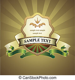 vendemmia, emblema, su, oro, fondo