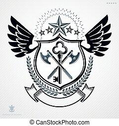 vendemmia, emblema, vettore, araldico, design.