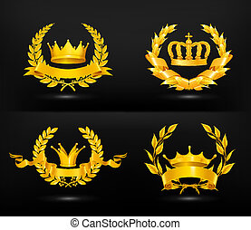 vendemmia, emblema, vettore, set, su, nero