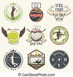 vendemmia, emblemi, set, sport