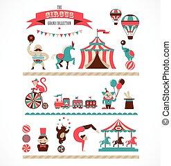 vendemmia, enorme, circo, collezione, con, carnevale, divertente giusto, vettore, icone, e, fondo