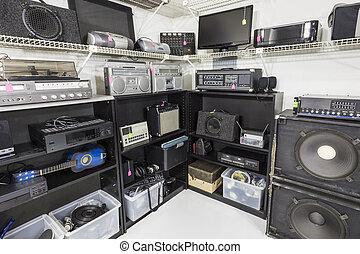 vendemmia, equipment., mano, secondo, musica, interno, ...