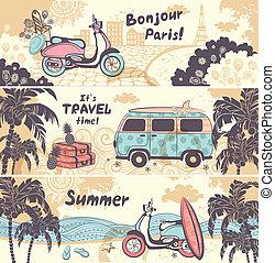 vendemmia, estate, e, viaggiare, bandiere