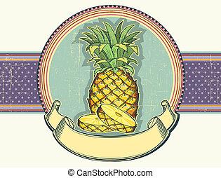 vendemmia, etichetta, illustrazione, di, giallo, ananas, su,...