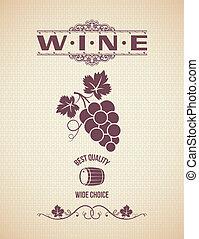 vendemmia, etichetta, uve vino, backgroun