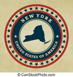 vendemmia, etichetta, york, nuovo