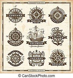 vendemmia, etichette, collezione, nautico
