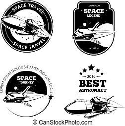 vendemmia, etichette, emblemi, vettore, astronauta, tesserati magnetici