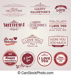 vendemmia, etichette, giorno, valentine