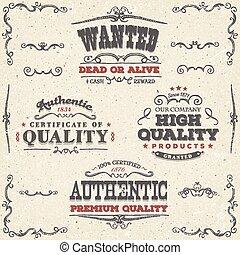 vendemmia, etichette, mano, disegnato, bandiere, qualità