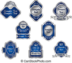 vendemmia, etichette, set, argento