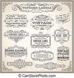 vendemmia, etichette, set, calligraphic