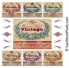 vendemmia, etichette, set, (vector)