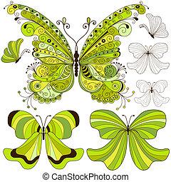 vendemmia, farfalle, set, verde
