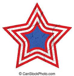 vendemmia, festival, stella, bandiera, vettore