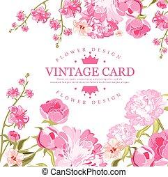 vendemmia, fiore, card., vettore, illustrazione