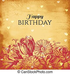 vendemmia, floreale, fondo, scheda compleanno