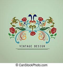 vendemmia, floreale, logotipo, sagoma