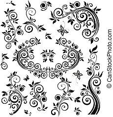 vendemmia, floreale, nero, disegno