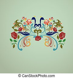 vendemmia, floreale, pavoni, uccelli