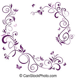 vendemmia, floreale, viola, bordo