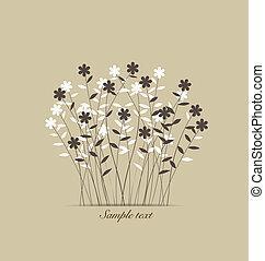 vendemmia, flowers., vettore, illustration.