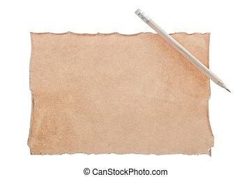 vendemmia, foglio carta, matita, isolato, bianco