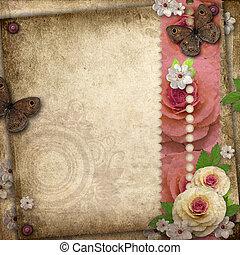 vendemmia, fondo, con, farfalla, e, rose, per, congratulazioni, e, inviti