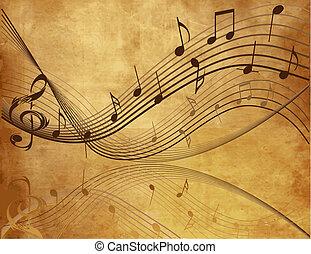 vendemmia, fondo, con, musica