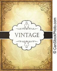 vendemmia, fondo, con, ornamentale, frame., vettore, illustrazione, eps10