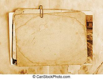 vendemmia, fondo, con, vecchio, carta, lettere, e, foto