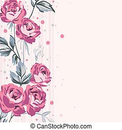 vendemmia, fondo, rose
