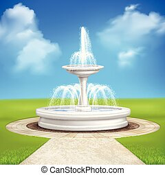 vendemmia, fontana, composizione, giardino