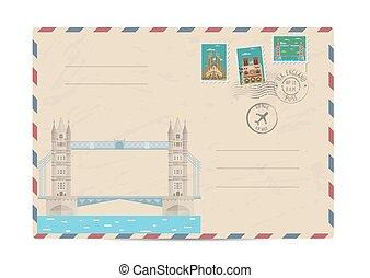 vendemmia, francobolli, postale, busta