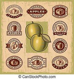 vendemmia, francobolli, set, mela
