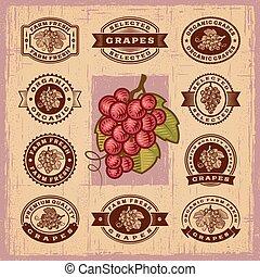 vendemmia, francobolli, set, uva