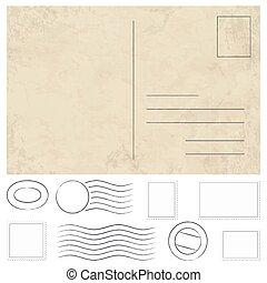 vendemmia, francobolli, vecchio, cartolina, timbri