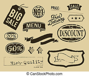 vendemmia, grafico, set, vendita, elementi