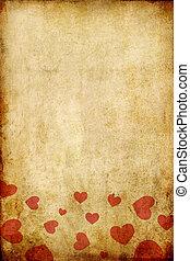 vendemmia, grunge, carta, con, cuore rosso, per, giorno valentine