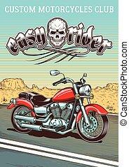 vendemmia, hand-drawn, motocicletta, fondo, deserto