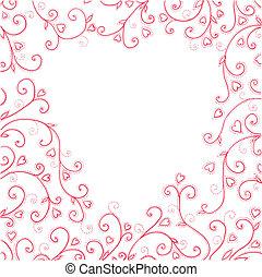 vendemmia, hearts., sfondo rosso