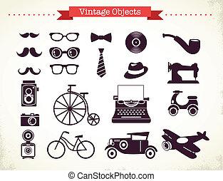 vendemmia, hipster, oggetti, collezione