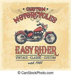 vendemmia, illustrazione, costume, vettore, motocicletta, manifesto