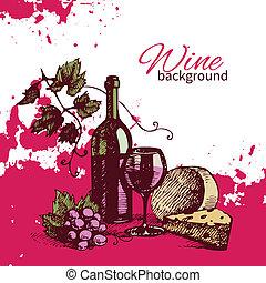 vendemmia, illustrazione, mano, fondo., disegnato, vino