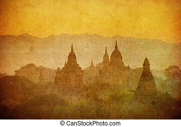 vendemmia, immagine, di, antico, bagan, myanmar